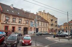 lituania Las calles viejas de Vilna Año Nuevo en Vilnius 31 de diciembre de 2017 Fotos de archivo libres de regalías