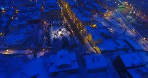 """LITUANIA, tiro video aéreo de la noche del †de KLAIPEDA """" Evento de la ciudad almacen de metraje de vídeo"""