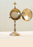 Liturgical vessel gold monstrance. Isolated Stock Photography