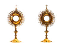 Liturgical vessel gold monstrance Royalty Free Stock Images