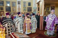 The Liturgy for the feast of palm Sunday in the Church of the city of Gomel (Belarus). Royalty Free Stock Photography