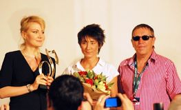 Litvinova, Zemfira, Plakhov at press-conference Stock Photography