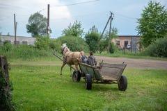Litynia by, Ukraina - Juni 02, 2018: Två unga pojkar som rider på en gammal trävagn som lagerför hö för boskap Liv i en villa Arkivbilder