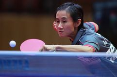 LIU Jia from Austria receive. 2017 European Championships - 1/4 Final. Luxembourg royalty free stock image