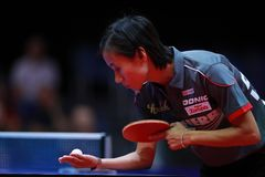 LIU Jia from Austria on serve. 2017 European Championships - 1/4 Final. Luxembourg royalty free stock photo