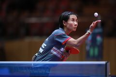 LIU Jia from Austria on serve. 2017 European Championships - 1/4 Final. Luxembourg royalty free stock images