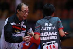 LIU Jia from Austria time out. 2017 European Championships - 1/4 Final. Luxembourg stock photo