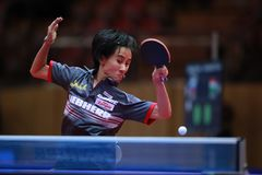 LIU Jia from Austria top spin. 2017 European Championships - 1/4 Final. Luxembourg stock photos
