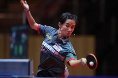 LIU Jia from Austria top spin. 2017 European Championships - 1/4 Final. Luxembourg stock image