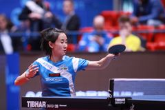 LIU Jia from Austria top spin. Montreux, Switzerland, 3 February 2018. LIU Jia from Austria top spin. First Round at the ITTF European Top 16 stock photography