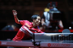 LIU Jia from Austria. World table tennis championships in Dusseldorf. 29 May 6 june 2017 royalty free stock photo
