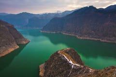 Liujiaxia reservoir winter. In gansu China Royalty Free Stock Image