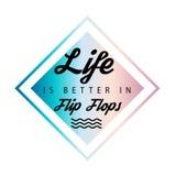 `-Liv är bättre i Flip Flops ` som är ny, sommarbakgrund vektor illustrationer