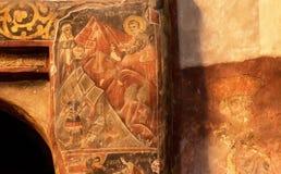 Liv av helgon på den forntida väggfreskomålningen av den Svetitskhoveli domkyrkan som byggs i det 4th århundradet i Mtskheta, Geo Royaltyfri Foto