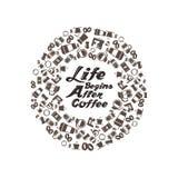 Liv börjar efter coffetypografi med åtskilliga kaffesymboler Arkivfoton