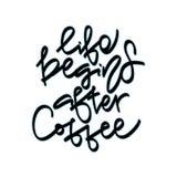 Liv börjar efter kaffe Hand Royaltyfri Illustrationer