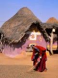 Liv för ökenby i Bhuj, Gujarat, Indien Royaltyfri Fotografi
