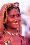 Liv för ökenby, Jaisalmer, Indien Arkivfoto