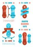 21 liv för Juni skridskobräde, det Tid som rider banret royaltyfri illustrationer