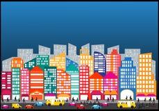 Liv för trafik för gata för bil för stadsfolk Arkivbilder