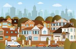 Liv i förorterna Arkivfoto