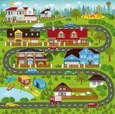 Liv i förorterna Arkivbild