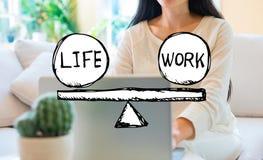 Liv- och arbetsj?mvikt med kvinnan som anv?nder hennes b?rbar dator royaltyfri fotografi