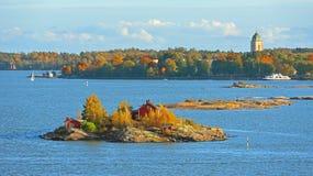 Liv på öar Helsingfors skärgårdö Fotografering för Bildbyråer