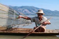 Liv på inlesjön, Myanmar. Arkivbilder