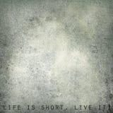 Liv är kort. Bo det - tappningvykortet, utrymme för text Royaltyfri Foto