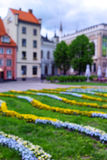 Liv Square na cidade velha de Riga na mola blurry foto de stock