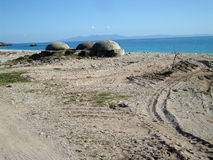 Livadi海滩, Himara村庄,南阿尔巴尼亚 免版税库存图片