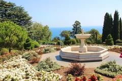 Livadia宫殿 喷泉在公园在Livadiya,克里米亚 免版税库存照片