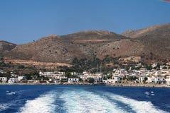 Livadia Hafen, Tilos Insel lizenzfreies stockbild