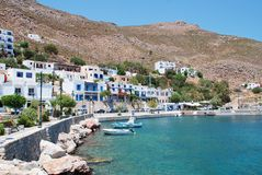 Livadia harbour, Tilos. Livadia harbour on the Greek island of Tilos on July 19, 2016. The 14.5km long island has a population of around 780 people Royalty Free Stock Photos