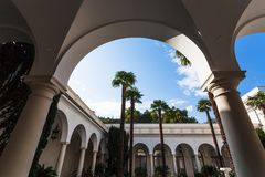 Arcades of inner yard of Livadia Palace Stock Image