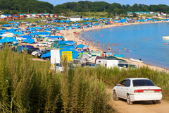 Livadiya, RUSSIA - AUGUST 05, 2016: Campings on the beach in the royalty free stock photos