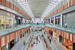Livat Shopping Mall interior, Beijing, China. BEIJING-JULY 18, 2015. Inside Livat shopping mall. Owned by Inter Ikea Centre Group, its design is uniquely Stock Image