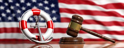 Livboj, skeppankare och lagauktionsklubba på USA av Amerika flaggabakgrund, baner illustration 3d royaltyfri illustrationer