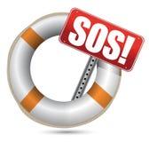 Livbojet med SOS undertecknar royaltyfri illustrationer