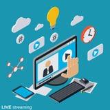 Live течь, концепция вектора ТВ интернета Стоковые Фотографии RF