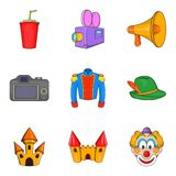 Live action icons set, cartoon style. Live action icons set. Cartoon set of 9 live action vector icons for web isolated on white background Royalty Free Stock Photography