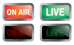 Live on air. Illustration of two luminous signals for On Air and Live, in two instances: on and off Royalty Free Stock Images