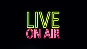 Live ON AIR Sign in Neon Style Turning On stock footage