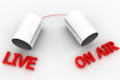 Live and on air voice can in white  area Royalty Free Stock Photography