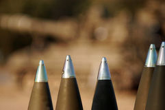 Live artillery shells ready to be fired Stock Photo