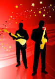 Live band on abstract red background Stock Photography