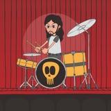 Live band boy cartoon character Stock Photos