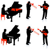 Live Band Musicians Silhouette Collection Arkivbilder