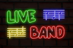 Live band neon lights Royalty Free Stock Image